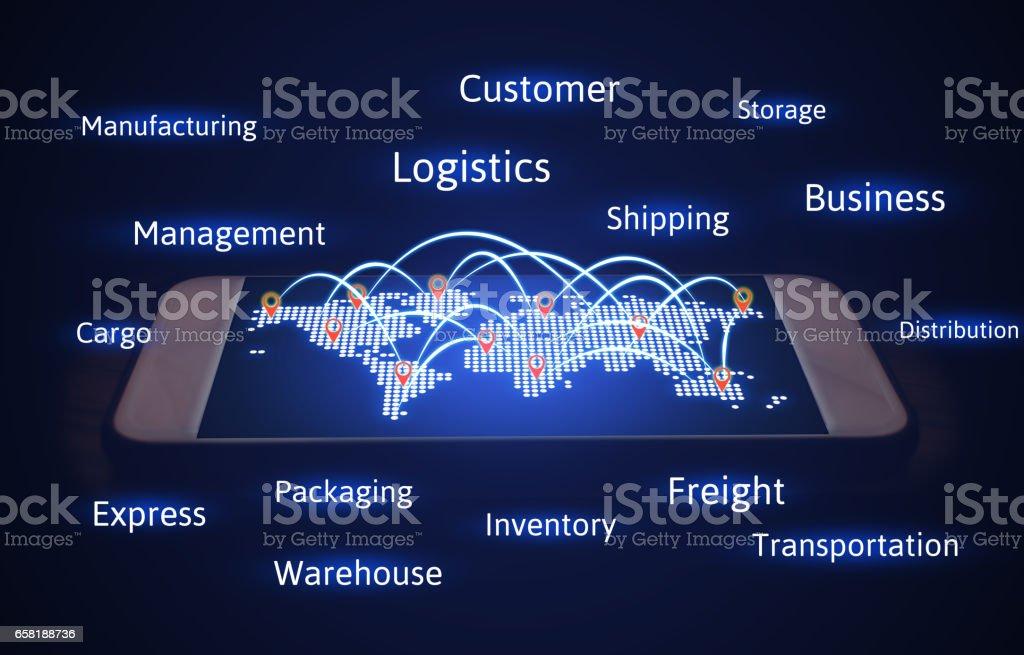 Logistics concept, world map with connecting transport and virtual screen. stock photo