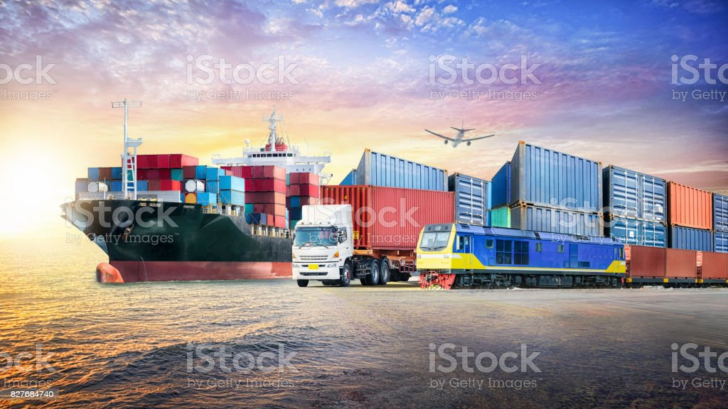 Logistics import export background and container cargo transport concept stock photo
