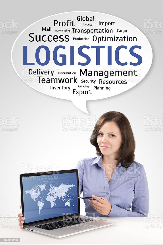 Logistics manager is showing world map on laptop screen stock photo