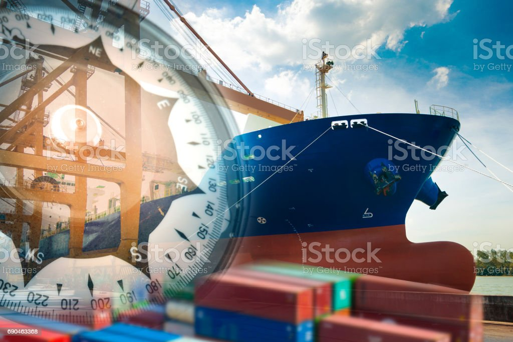 Logistics shipping container line navigation icon. stock photo