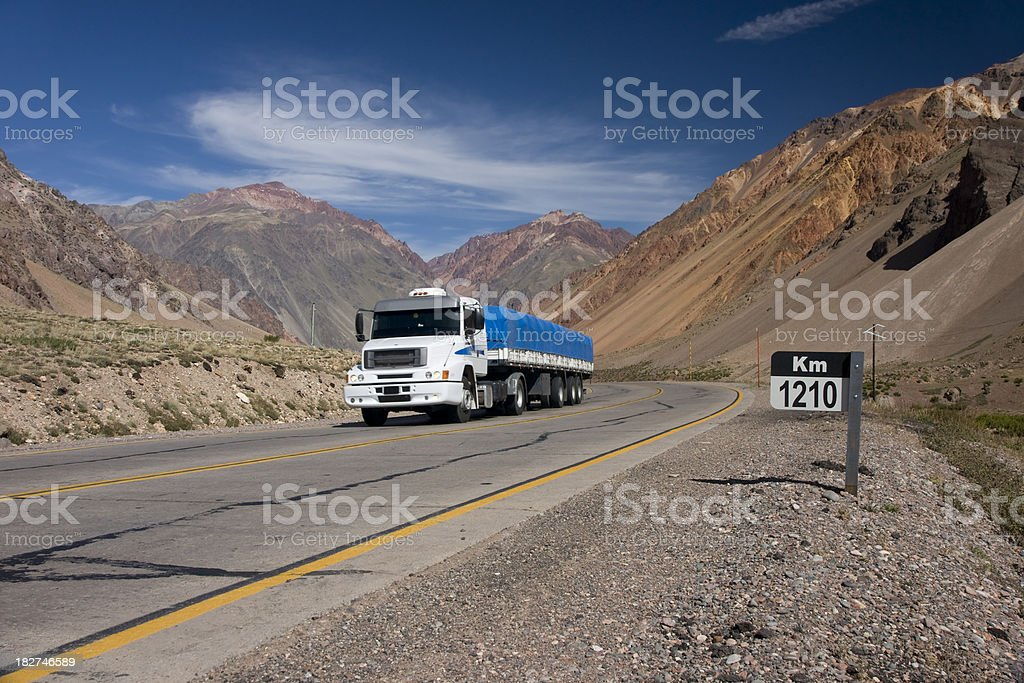 Logistics - Trucking Andes Argentina royalty-free stock photo
