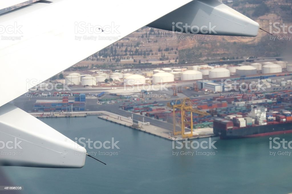 Logistics-Transportation by air, water and road stock photo