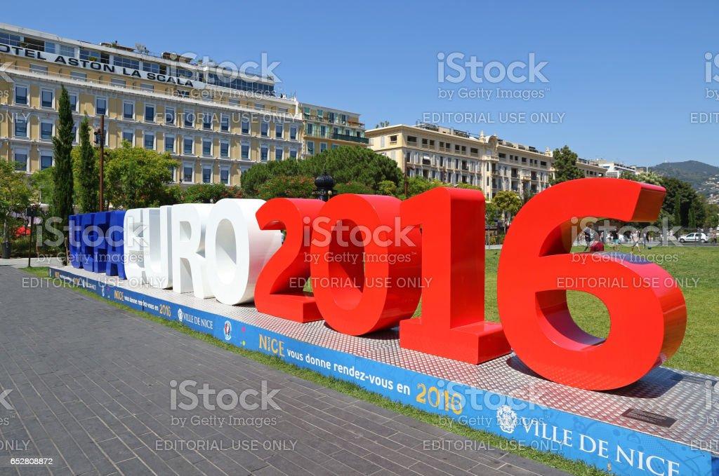 UEFA EURO 2016 logo at Promenade du Paillon in City of Nice stock photo