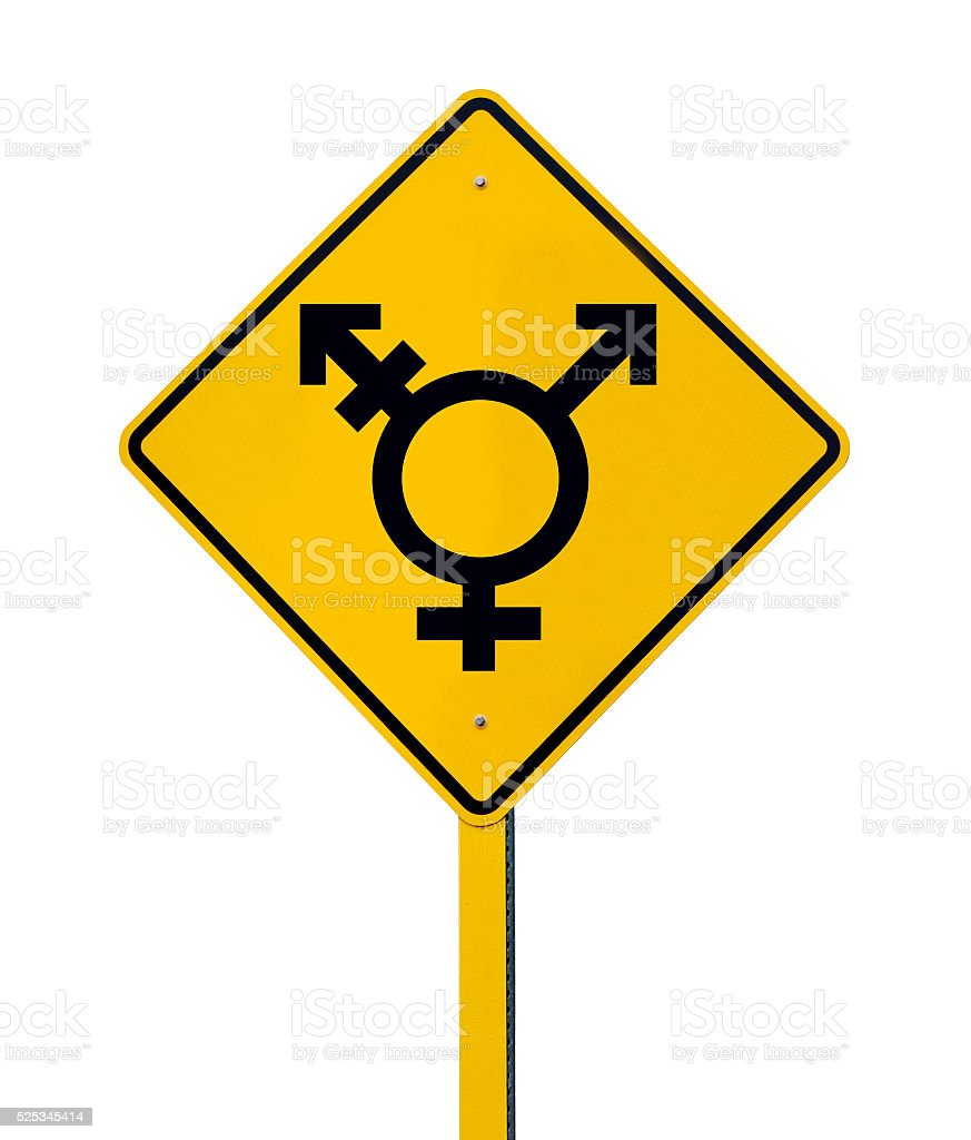 LGBT Logo Caution Road with Rainbow Flag Sign Isolated stock photo
