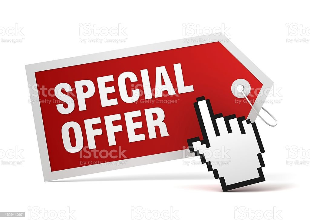 A logo for a special offer with mouse cursor stock photo