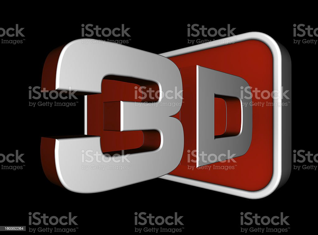 3D logo in silver and red on black background stock photo