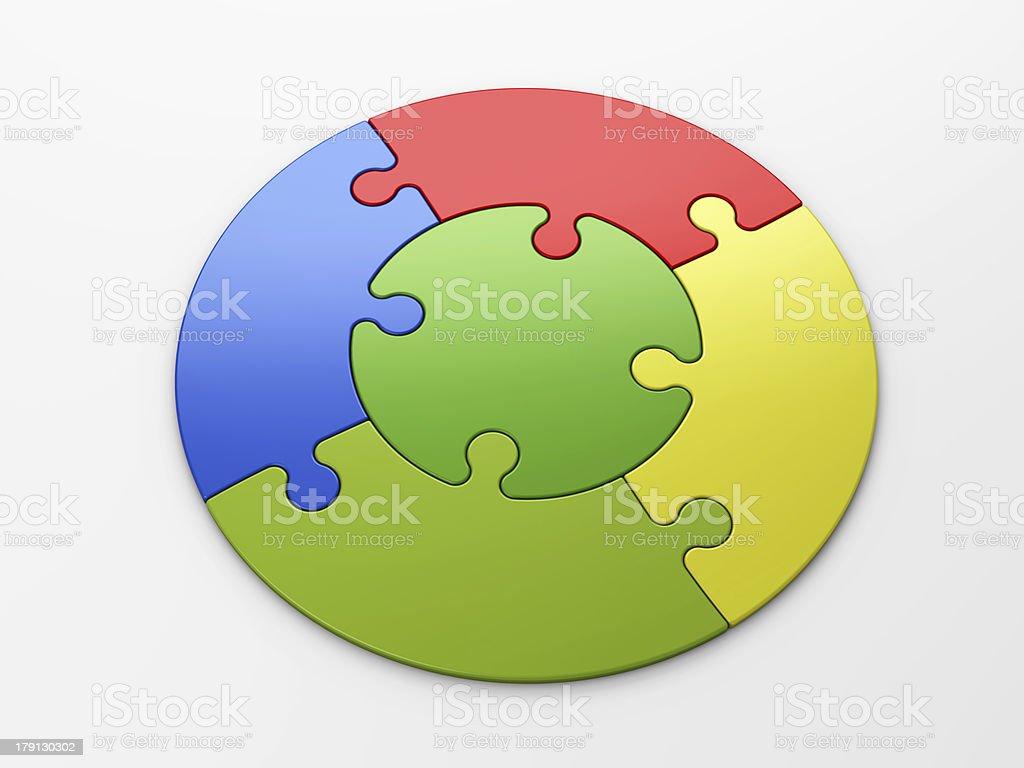 Logo of multicolored interlocking pieces in a circular shape stock photo