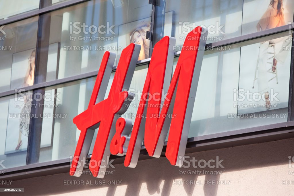 Logo of the Swedish retail-clothing company Hennes & Mauritz (H&M) stock photo