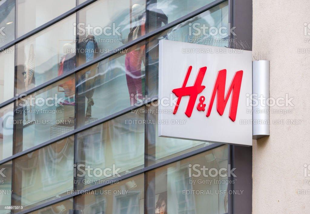 Logo of the Swedish retail-clothing company Hennes & Mauritz (H&M) royalty-free stock photo