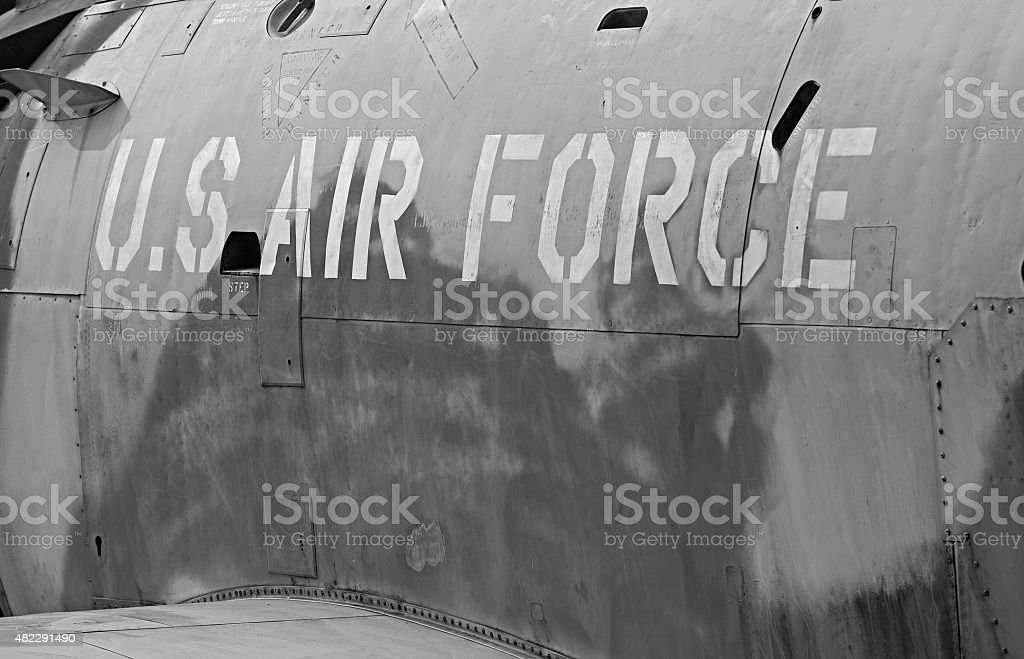 Logo of the U.S Air Force on a jet stock photo