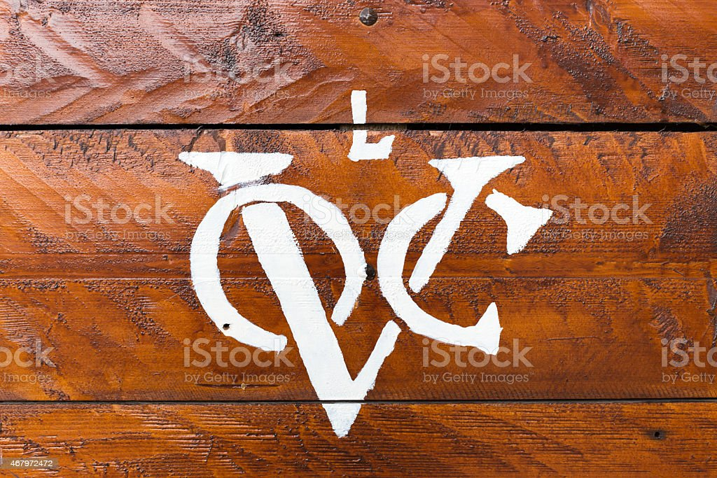 Logo of VOC company on wood stock photo