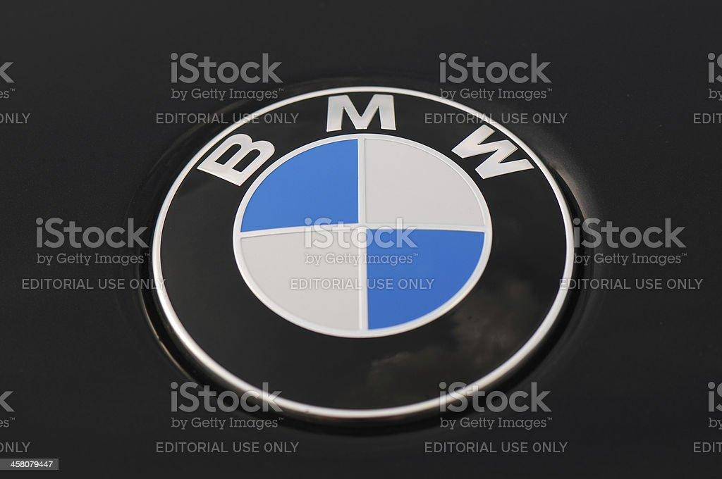 BMW Logo on a Black Car 5 Series stock photo