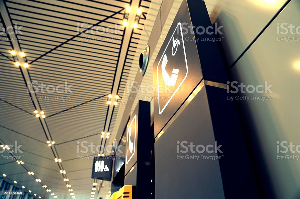 Logo, signage, telephone, toilet, public stock photo