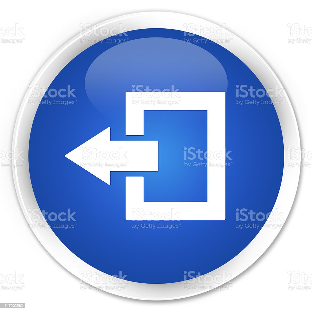 Logout icon blue glossy round button stock photo