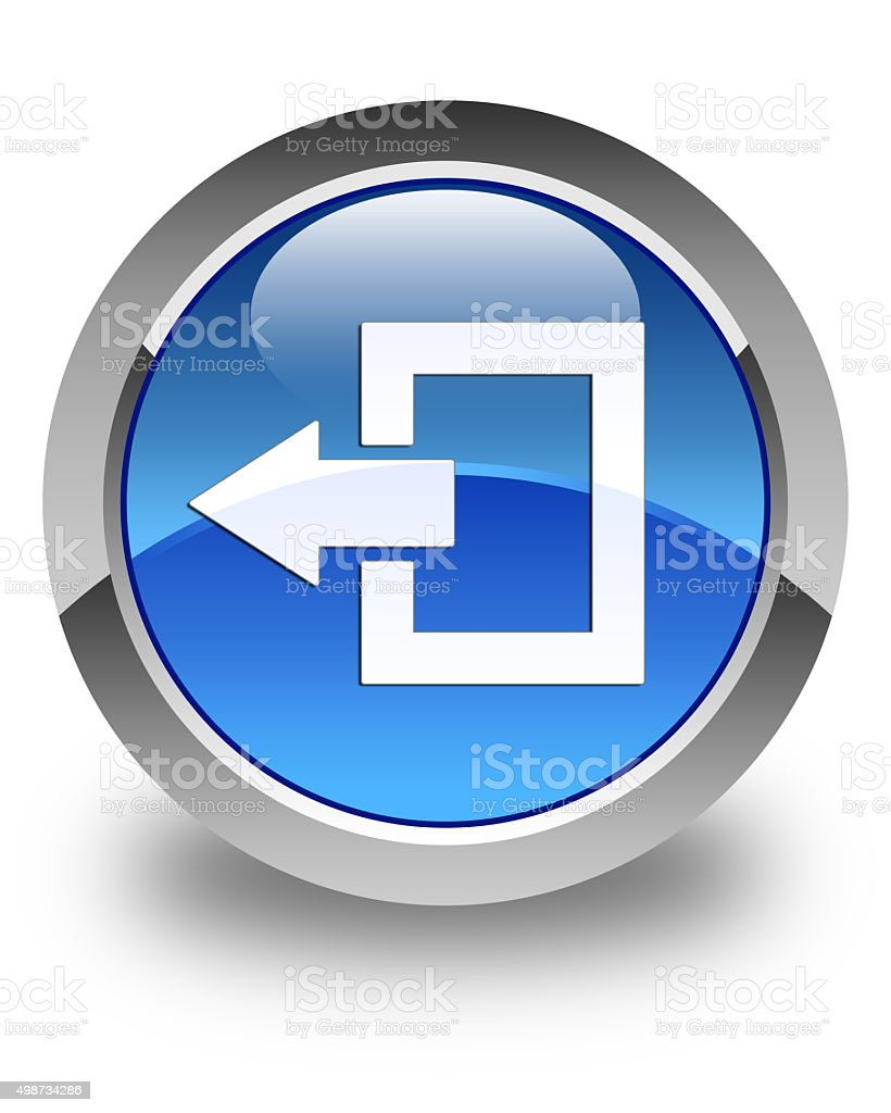 Logout icon glossy blue round button stock photo