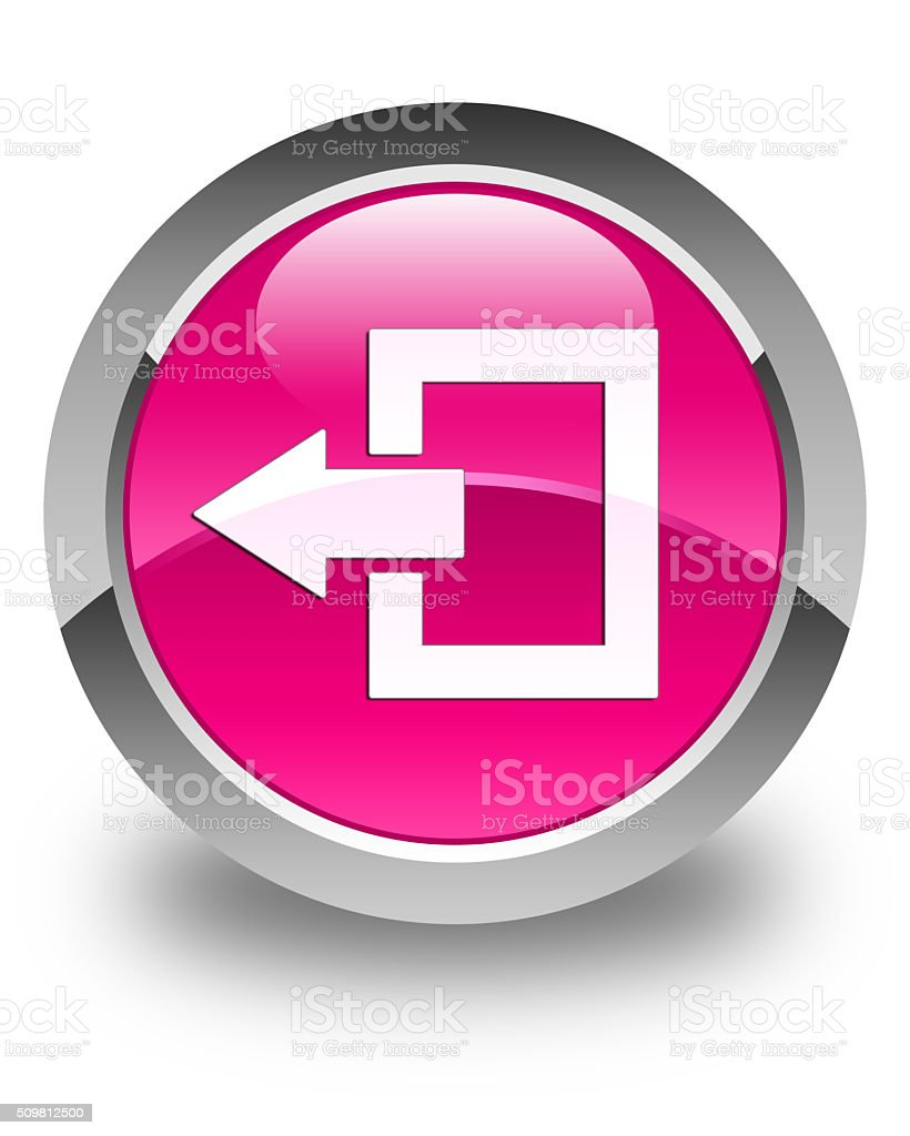 Logout icon glossy pink round button stock photo