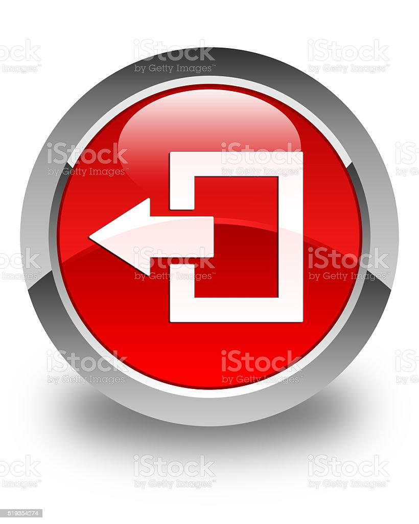 Logout icon glossy red round button stock photo