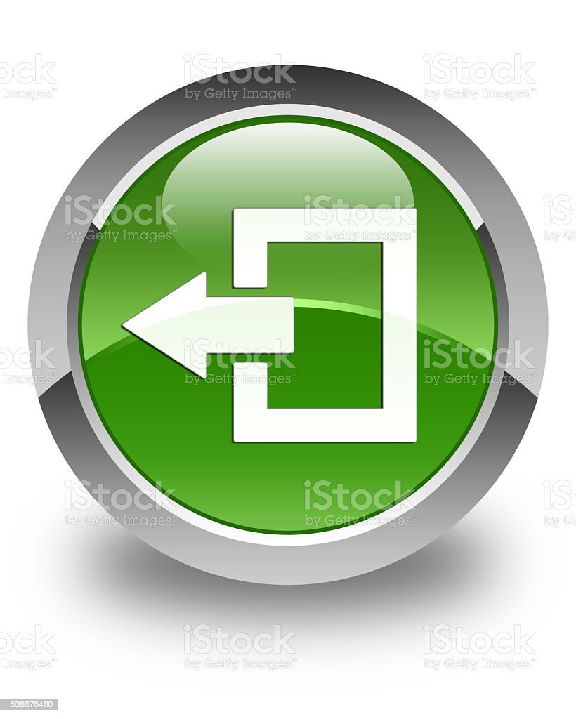 Logout icon glossy soft green round button stock photo