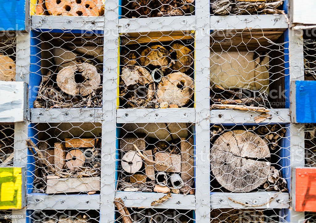 Logs and wood behind chicken wire in sections stock photo