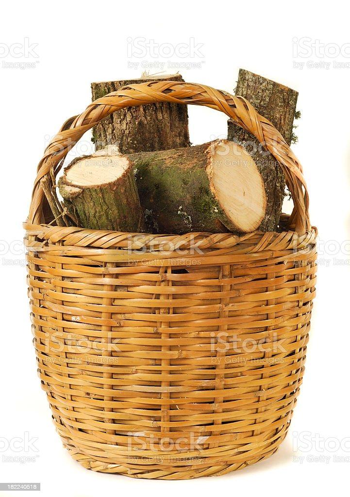 Logs in a Wicker Basket royalty-free stock photo
