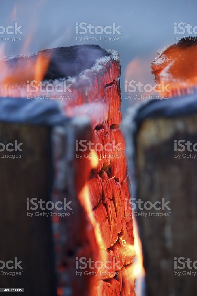 Logs in fire royalty-free stock photo