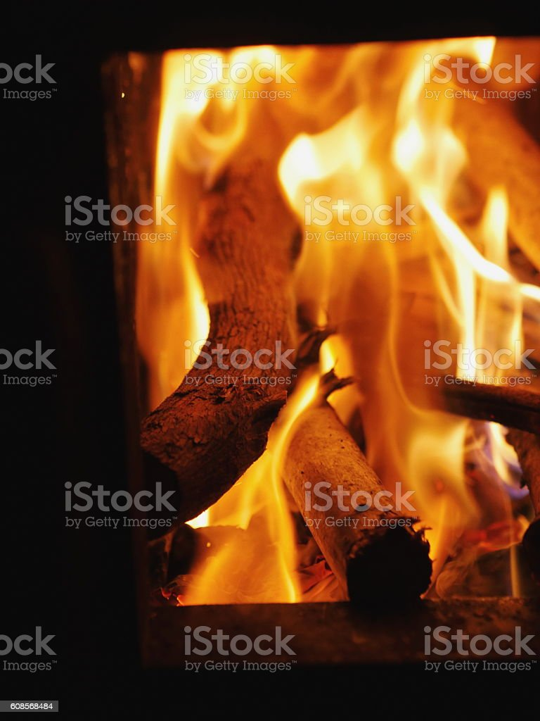 Logs in furnace stock photo