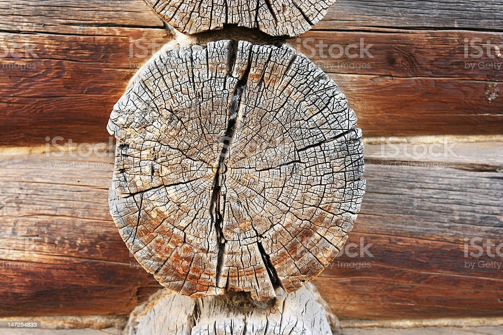 Logs in the wall stock photo