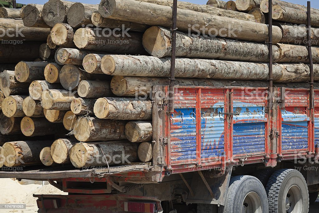 Logs on truck royalty-free stock photo