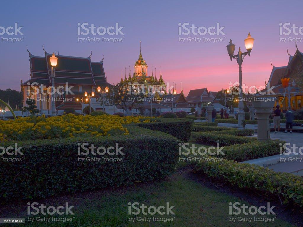 Loha Prasat in Wat Ratcha Nadda temple, Bangkok, Thailand stock photo