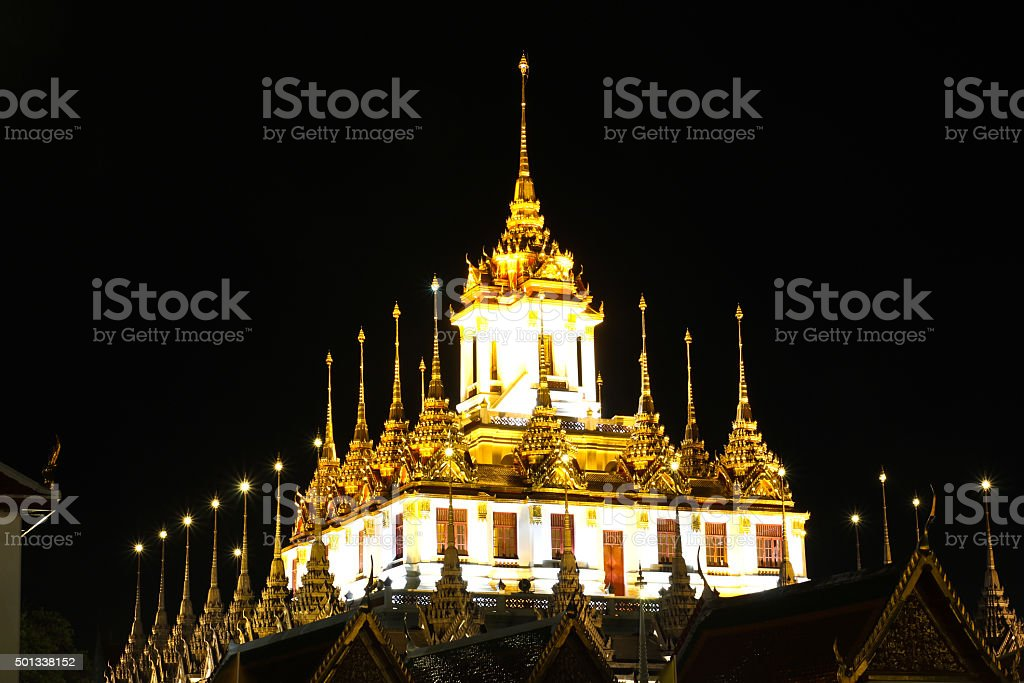 Loha Prasat Metal Palace in Wat ratchanadda at night, Bangkok stock photo