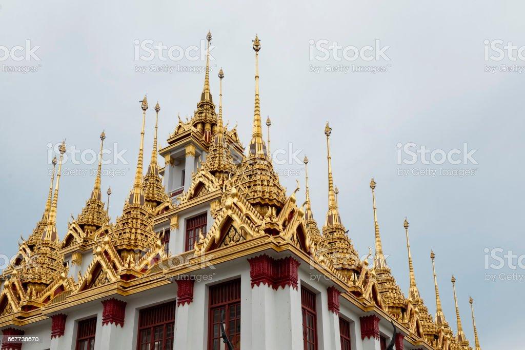 Loha Prasat or Metalic Castle of Wat Ratchanadda on Ratchadamnern Road, Bangkok, Thailand stock photo