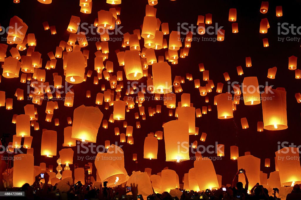 Loi Krathong and Yi Peng Festival Chiang Mai Province, Thailand stock photo