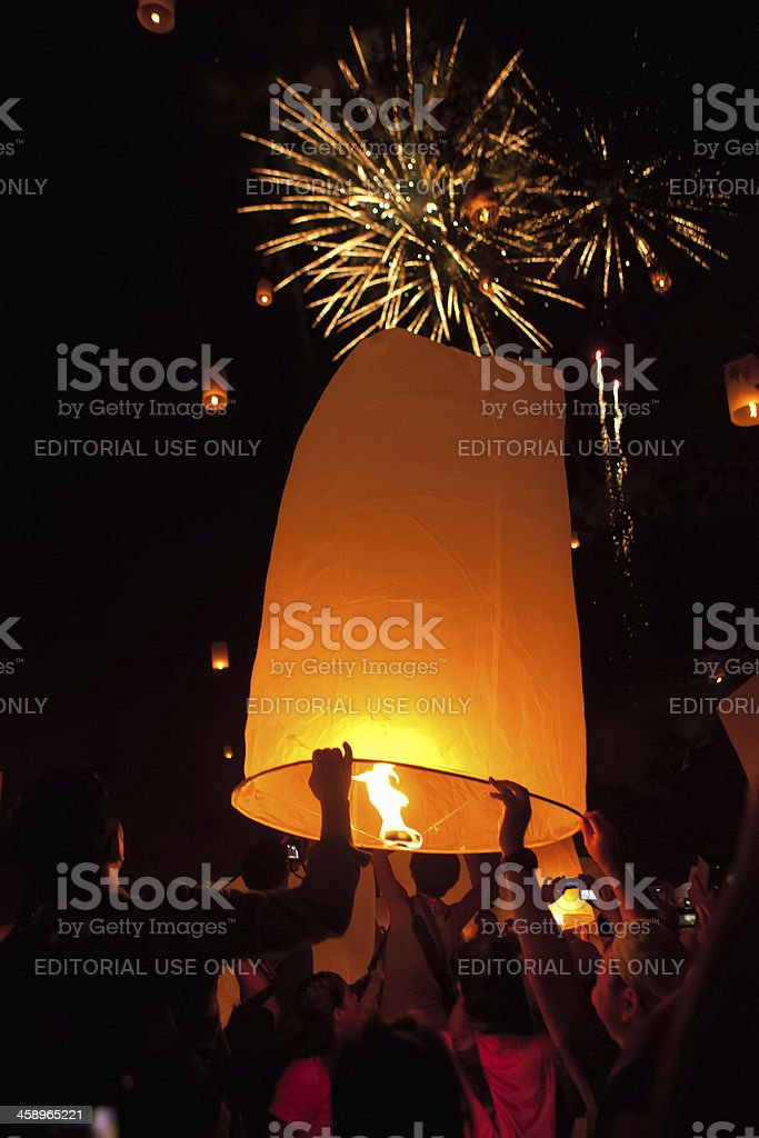Loi Krathong Festival and Fireworks stock photo