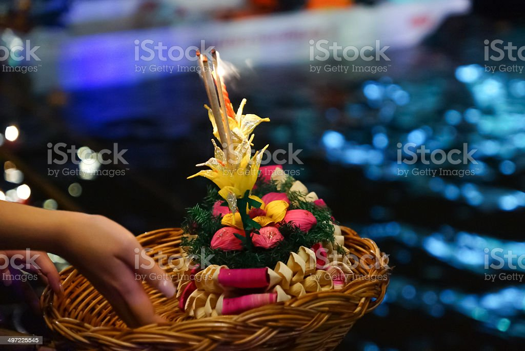 Loi Krathong festival stock photo