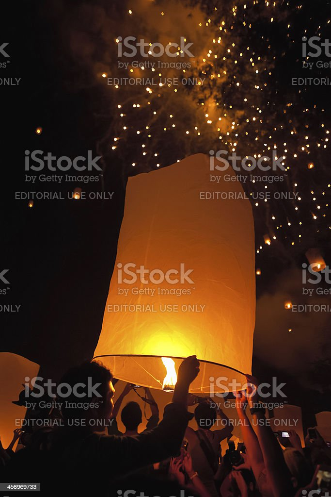 Loi Krathong Floating Lanterns and Fireworks stock photo