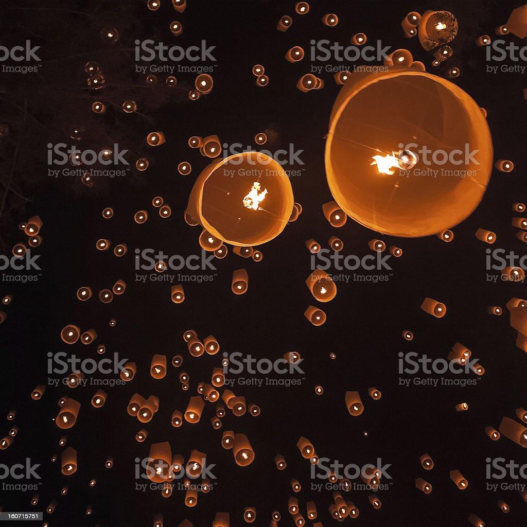 Loi Krathong Floating Lanterns royalty-free stock photo