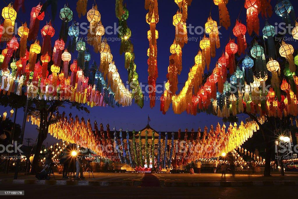 Loikrathong lantern festival stock photo