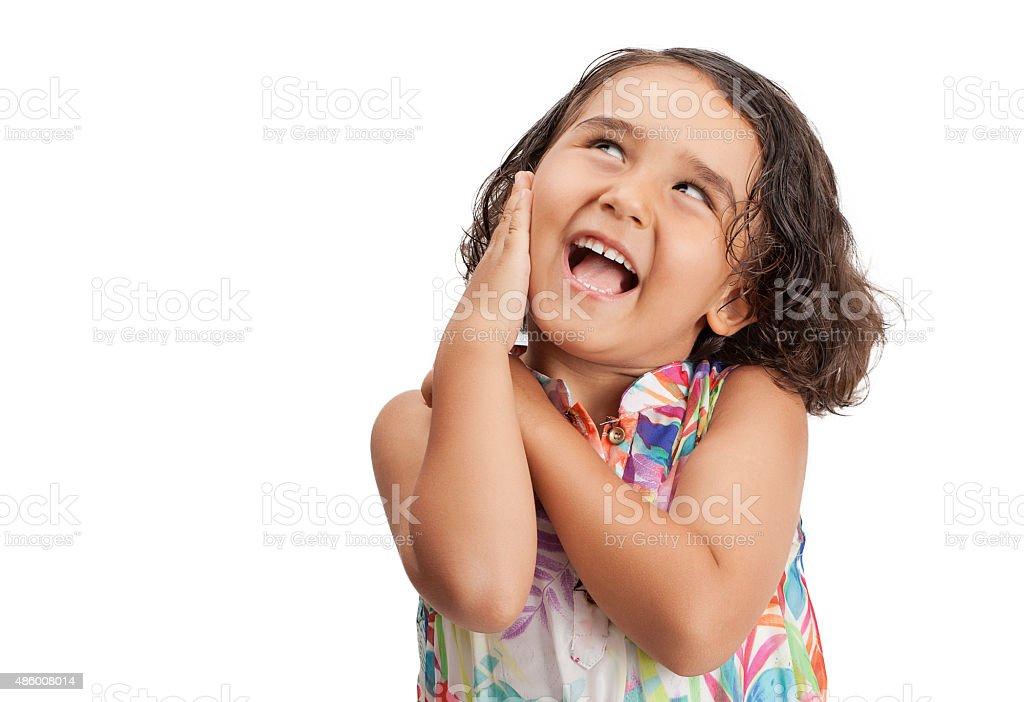 Loking at little girl stock photo