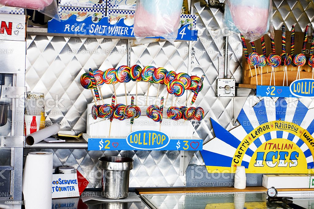 Lollipops at a Coney island Food Counter stock photo