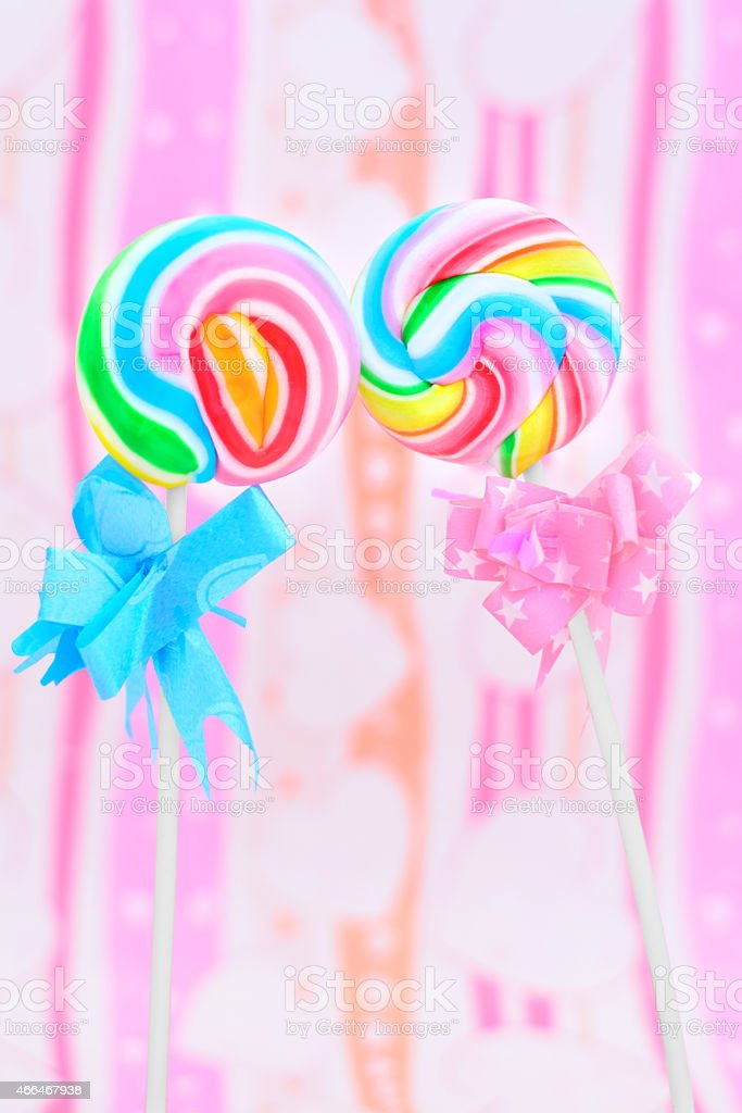 Lollipops kissing stock photo