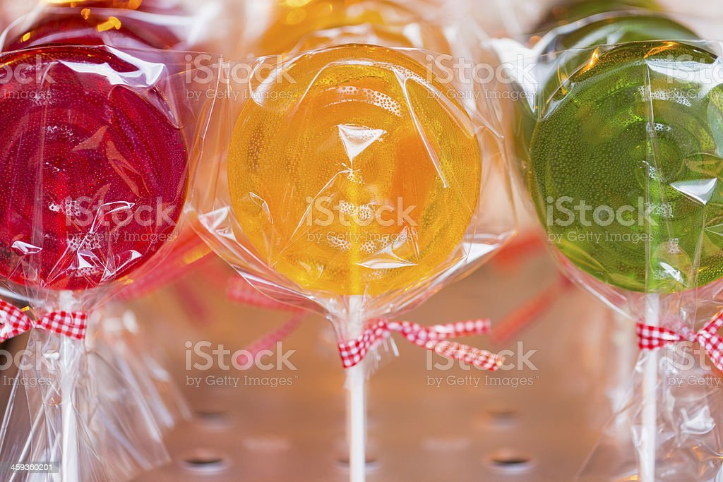 Lollipops: Red, Yellow, and Green royalty-free stock photo