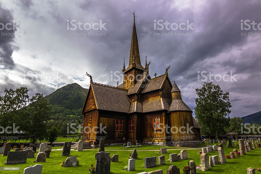 Lom Stave Church, Norway stock photo