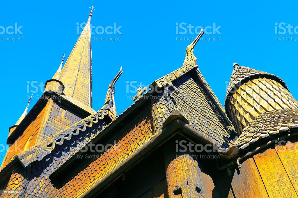 Lom Stave Church: Norwegian carving Stavkirke - Oppland, Norway, Scandinavia stock photo
