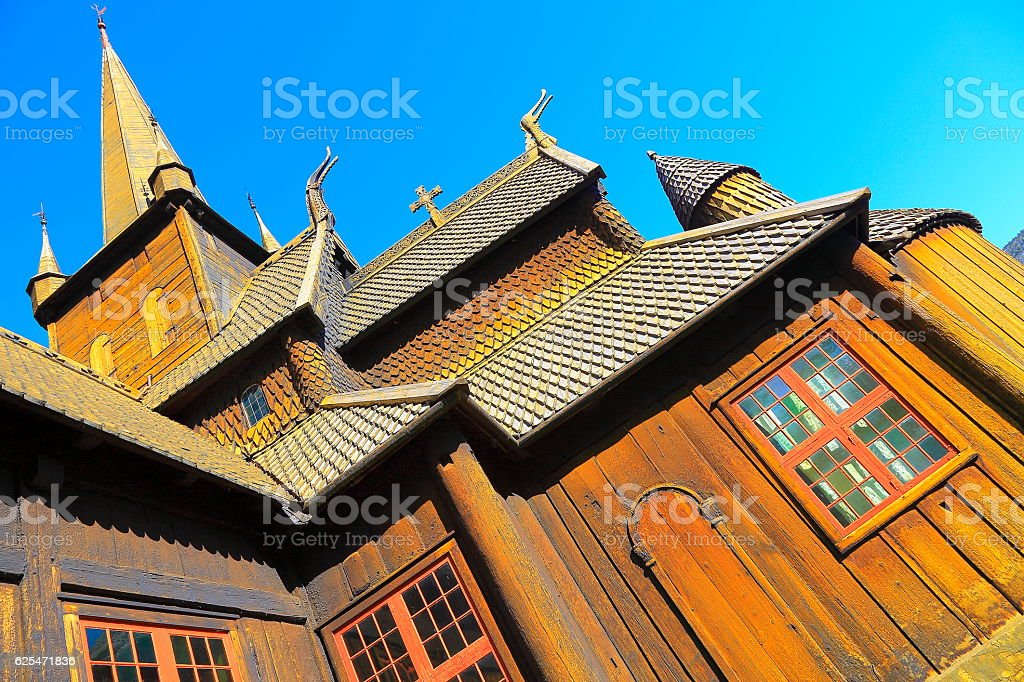 Lom Stave Church: Norwegian dragon heads Stavkirke - Norway, Scandinavia stock photo