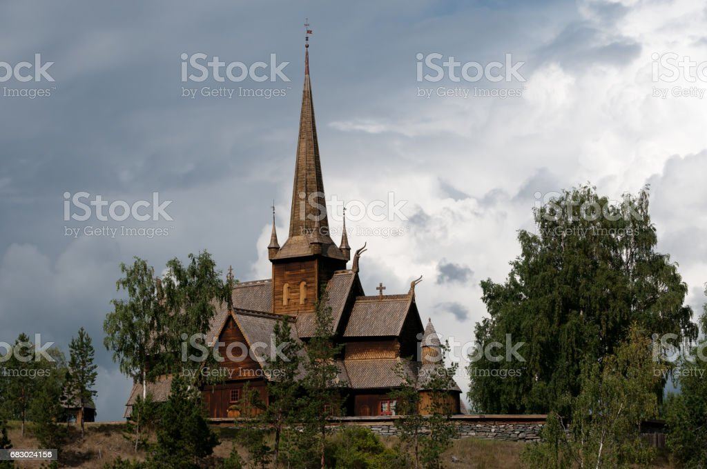 Lom stave church stock photo