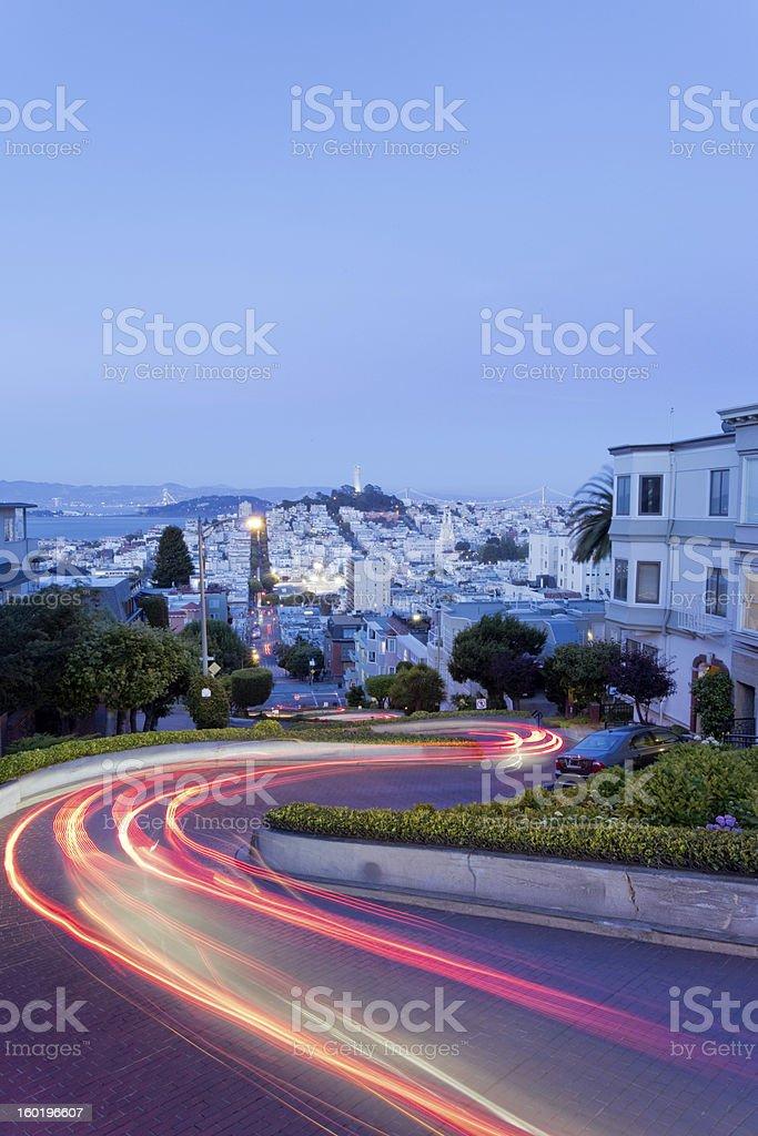 Lombard Street at night stock photo