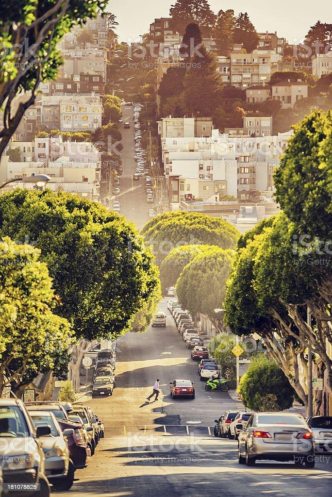 Lombard Street at the evening, San Francisco stock photo