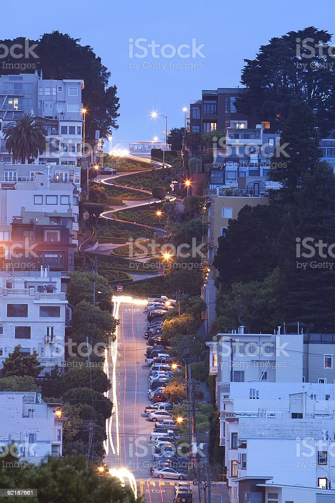 Lombard Street & Cable Car stock photo