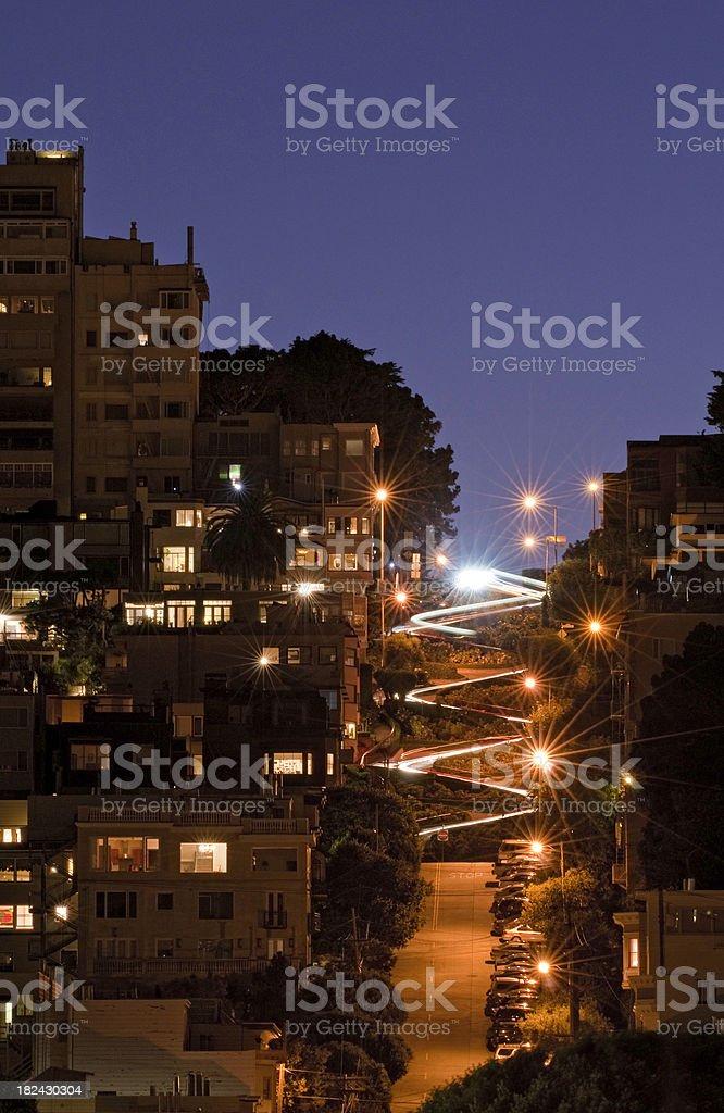 Lombard Street curving light trails San Francisco blue dusk California royalty-free stock photo