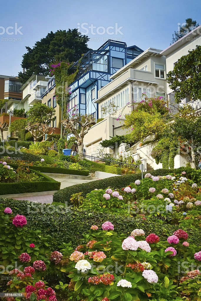 Lombard street from below royalty-free stock photo